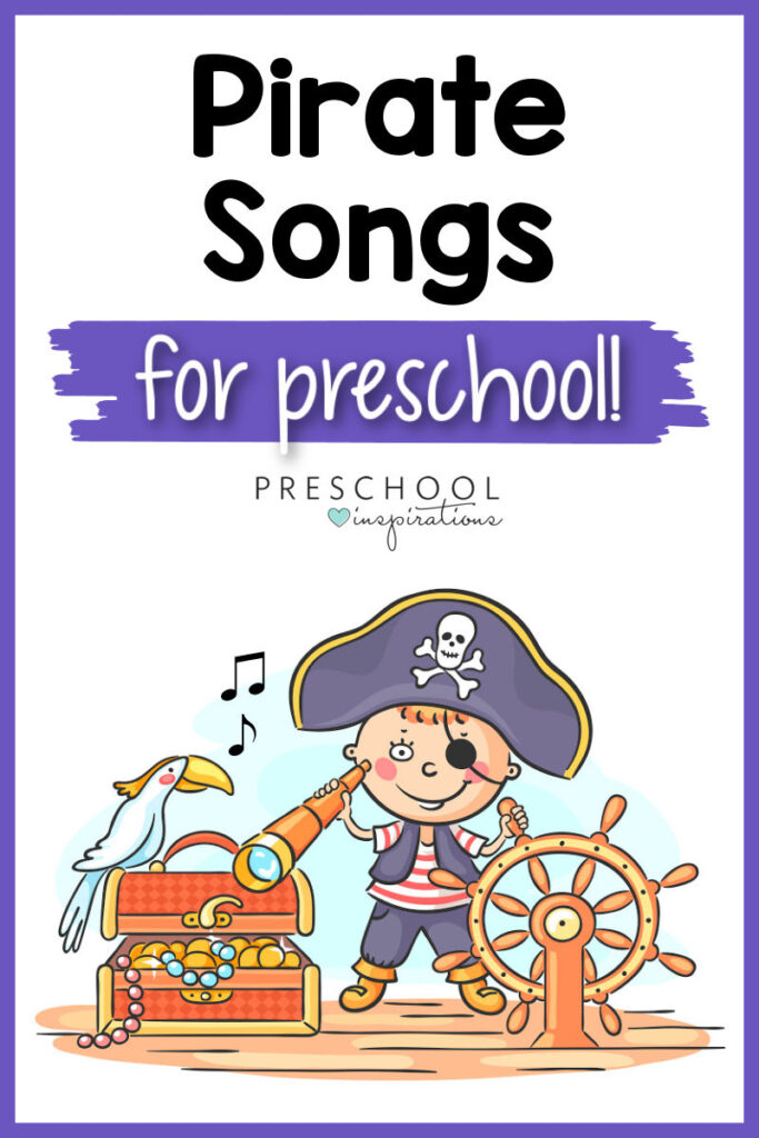 pinnable image of a vector boy playing pirate and the text pirate songs for preschool