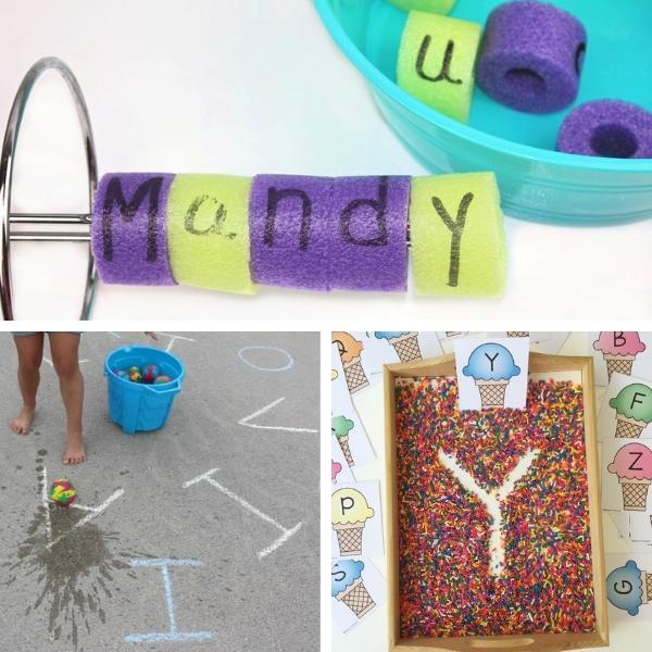 collage of three different preschool alphabet activities