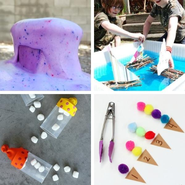 collage of four different preschool STEM activities for summer