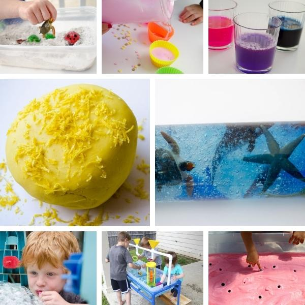 collage of eight different sensory activities for preschoolers this summer