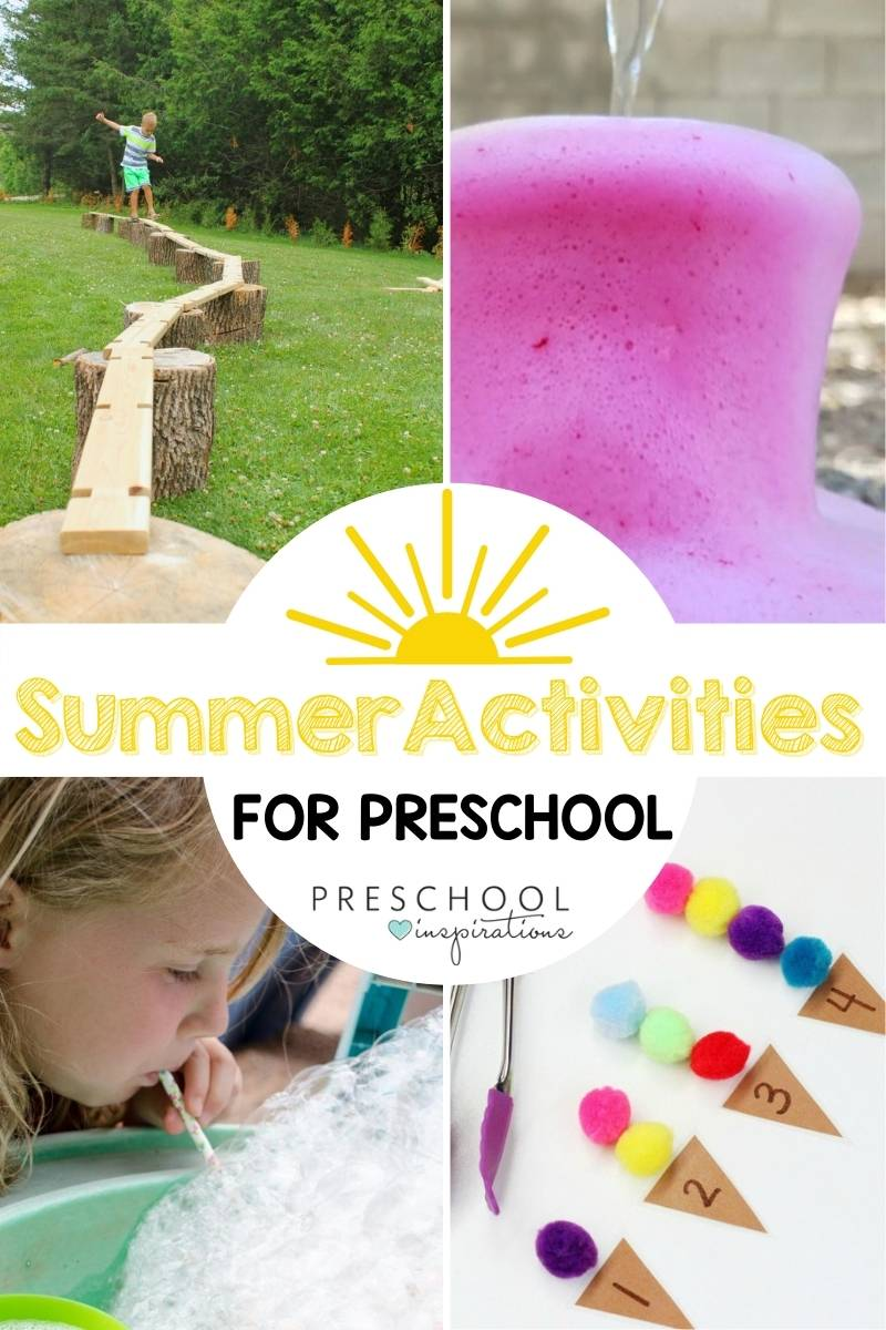 pinnable collage of four summer activities for preschool