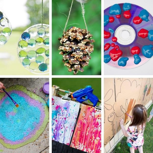 collage of six different arts projects and crafts for preschool