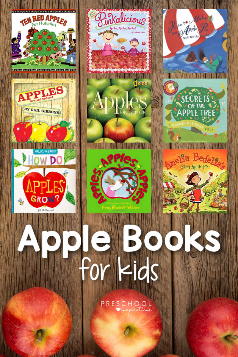 pinnable image of nine covers of apple books on a wood background with the text 'apple books for kids'