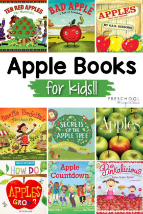 pinnable image of the covers of nine popular apple books and the text, 'apple books for kids!'