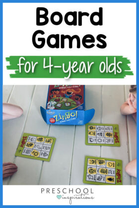 pinnable image of kids playing zingo and the text 'board games for 4-year olds'
