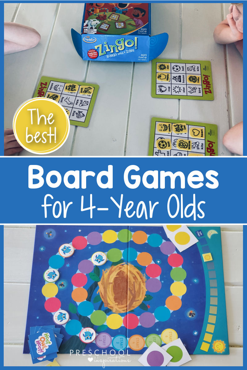 pinnable image of two board games set up with the text 'the best board games for 4-year olds