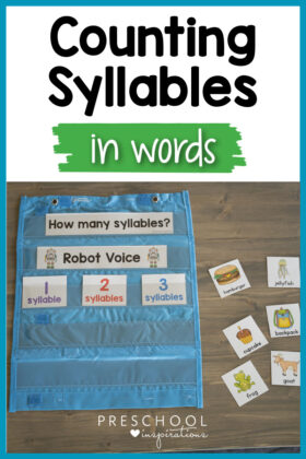 pinnable image of counting syllables cards in a pocket chart and the text 'counting syllables in words'