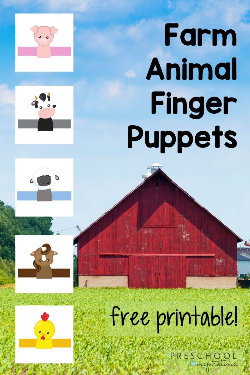 pinnable image of five farm finger puppets with a barn and the text 'farm animal finger puppets free printable'