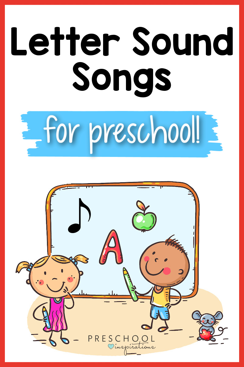 pinnable image of clipart preschool kids pointing to a board with the letter a, an apple, and a music note on it and the text 'letter sound songs for preschool'