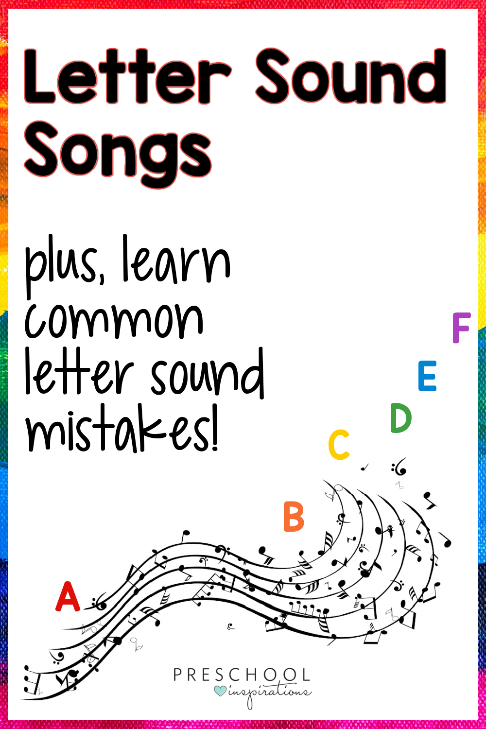 pinnable image of a swirl of music with the alphabet in it and the text 'letter sound songs plus learn common letter sound mistakes'