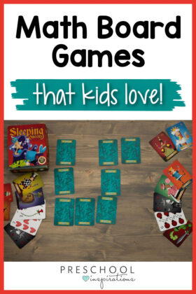 pinnable image of the game sleeping queens laid out and the text, 'math board games that kids love'