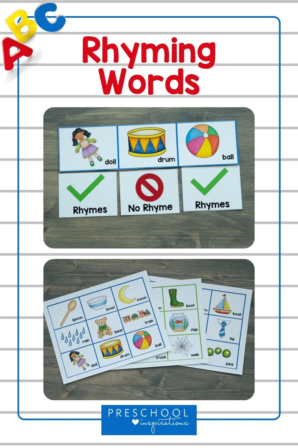 two views of a rhyming cards product with the text 'rhyming words'