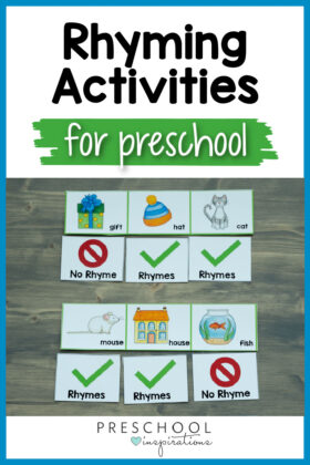 pinnable image of a set of counting cards with rhyming words marked and the text 'rhyming activities for preschool'