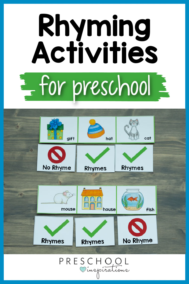 a set of counting cards with rhyming words marked and the text 'rhyming activities for preschool'