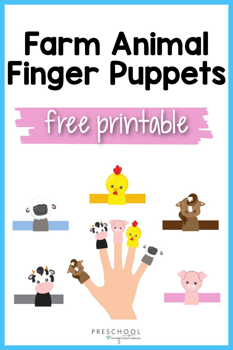 pinnable image of five printable farm animal finger puppets with the text 'farm animal finger puppets free printable'