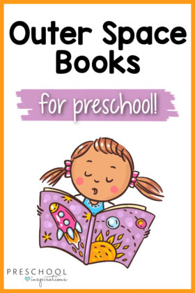 a clipart image of a preschool girl reading a book about space with the text 'outerspace books for preschool'