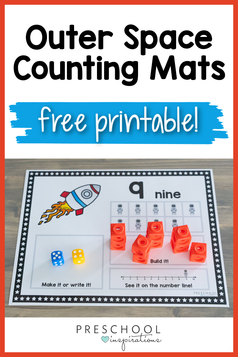 a space counting mat showing the number 9 and the text 'outer space counting mats free printable'