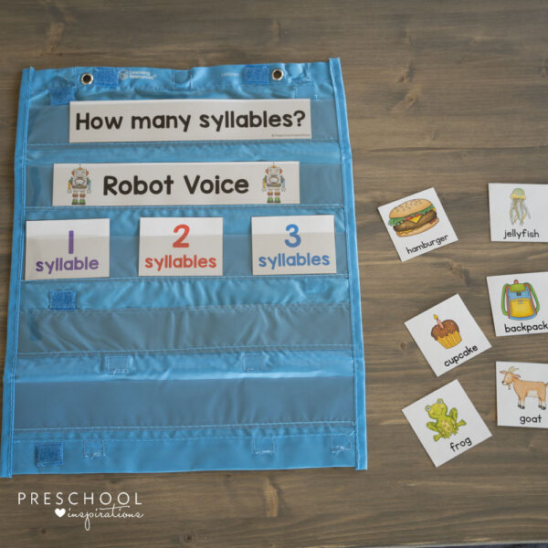 counting syllables cards on a preschool pocket chart