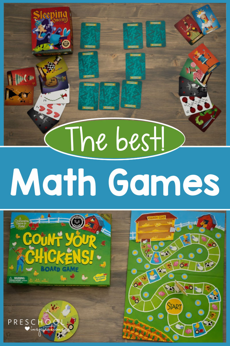 Images of two math board games for kids with the text 'the best math games'