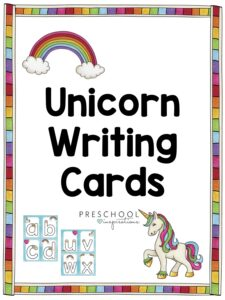 cover image for unicorn writing cards