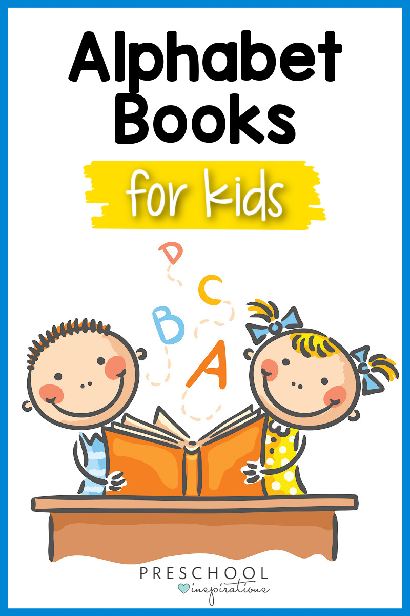 pinnable clip art of two kids reading a book with letters floating out and the text alphabet books for kids
