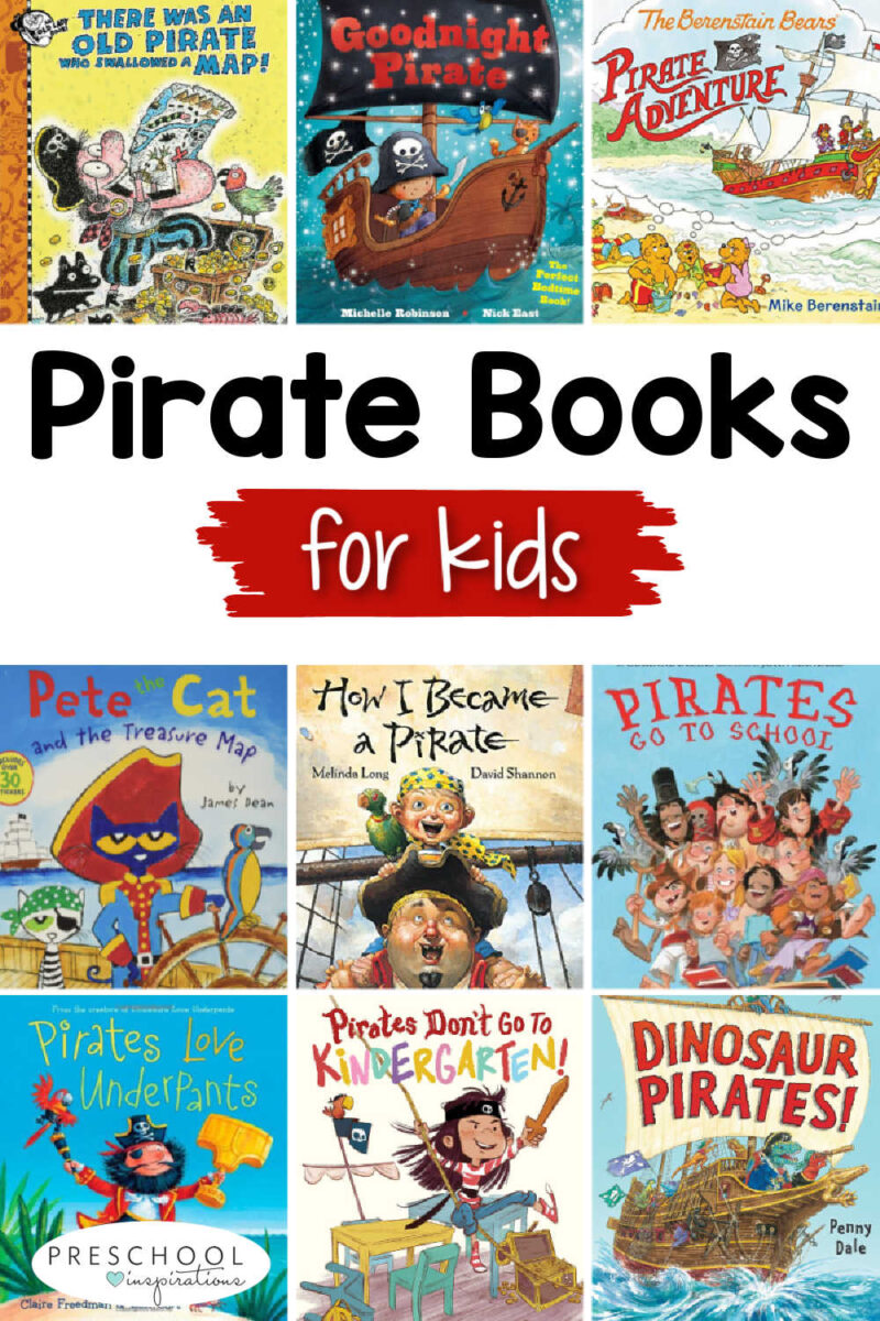 pinnable collage of nine different pirate picture book covers and the text 'pirate books for kids'