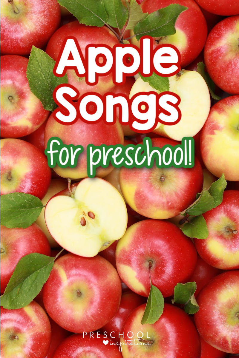 pinnable image of a close up on lots of apples with the text 'apple songs for preschool'
