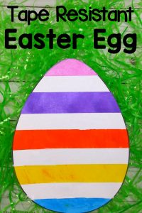 Colorful and Fun Tape Resist Easter Egg Art